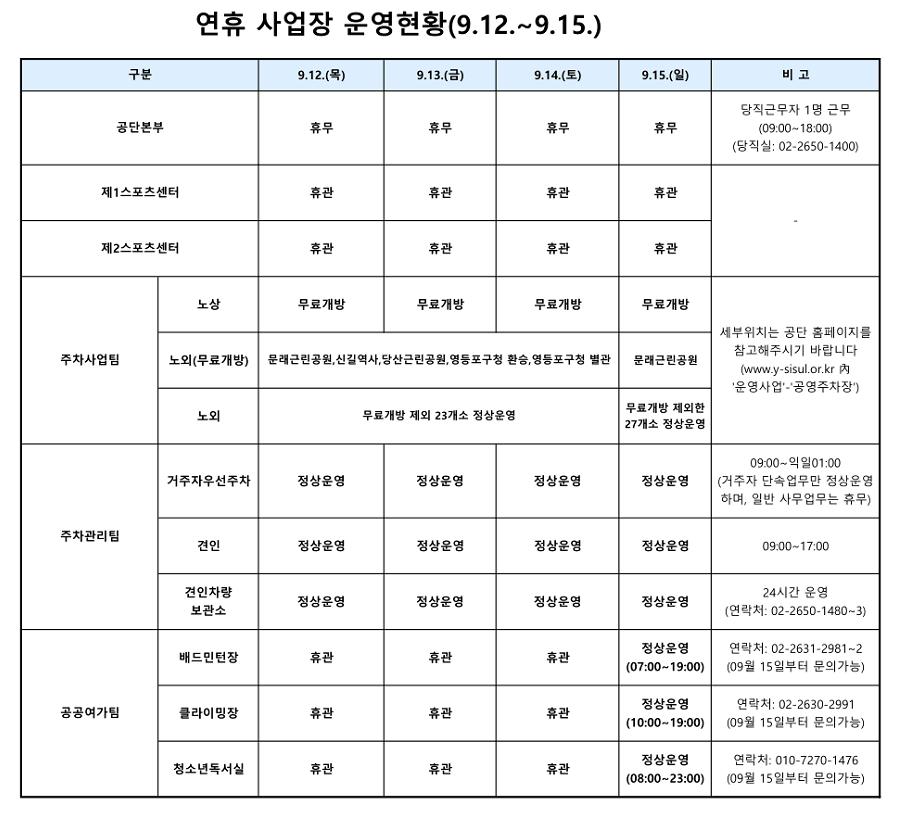 추석연휴기간내 사업장 운영 안내(9.12~9.15) 사진